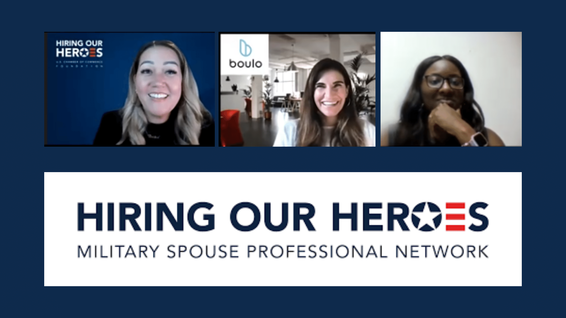 Cover navy background with HOH Military Spouse Professional Network (MSPN) logo host Debbra Hooks photo and Boulo's Founder & CEO, Delphine Carter's photo for their discussion and news blog