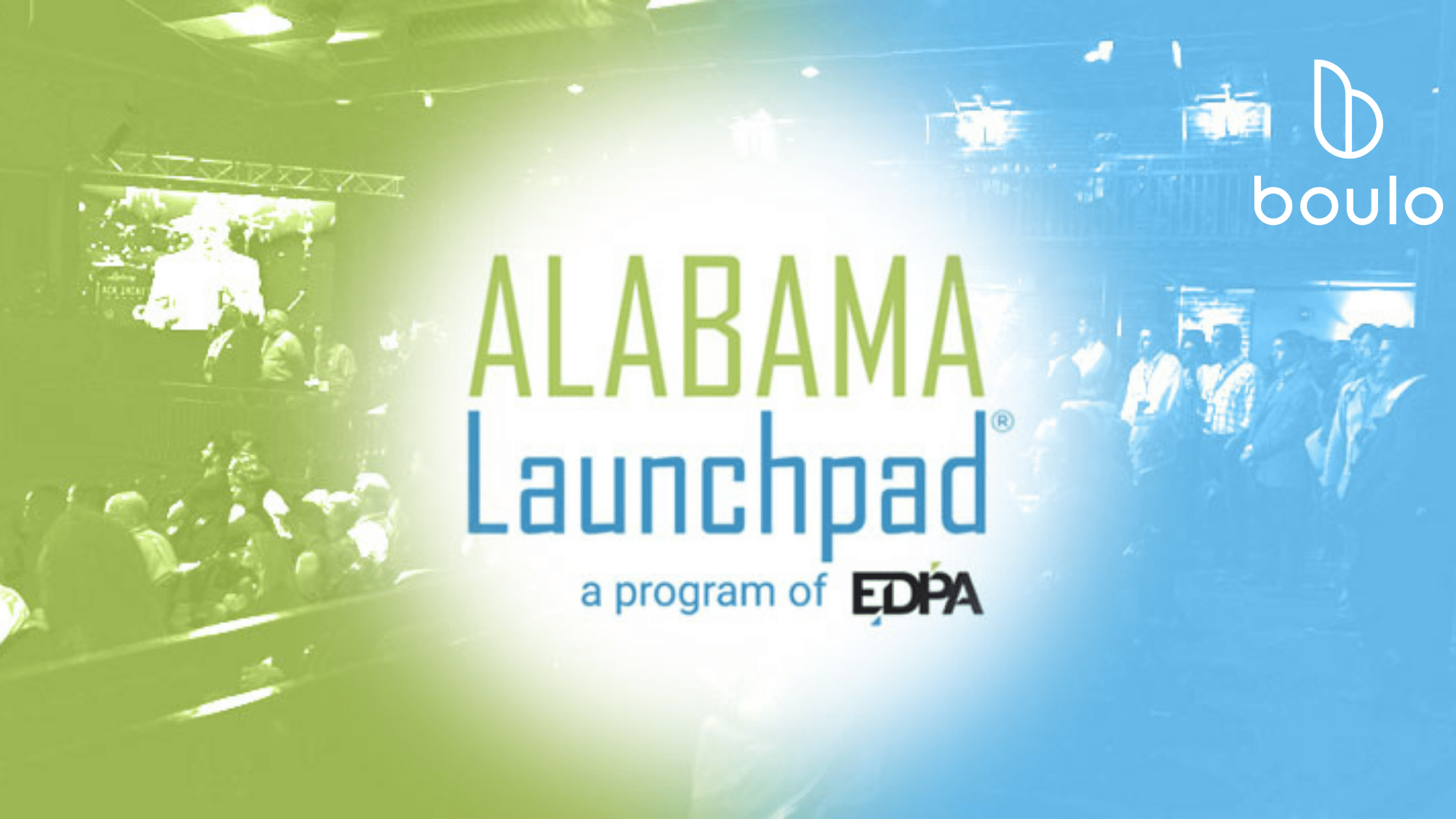 Alabama Launchpad title and presentation images with Boulo logo for article on finalists