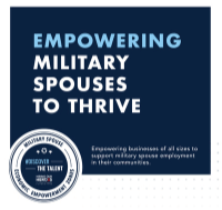 Hire Military Spouses discover the talent logo with text Empowering Military Spouses to Thrive